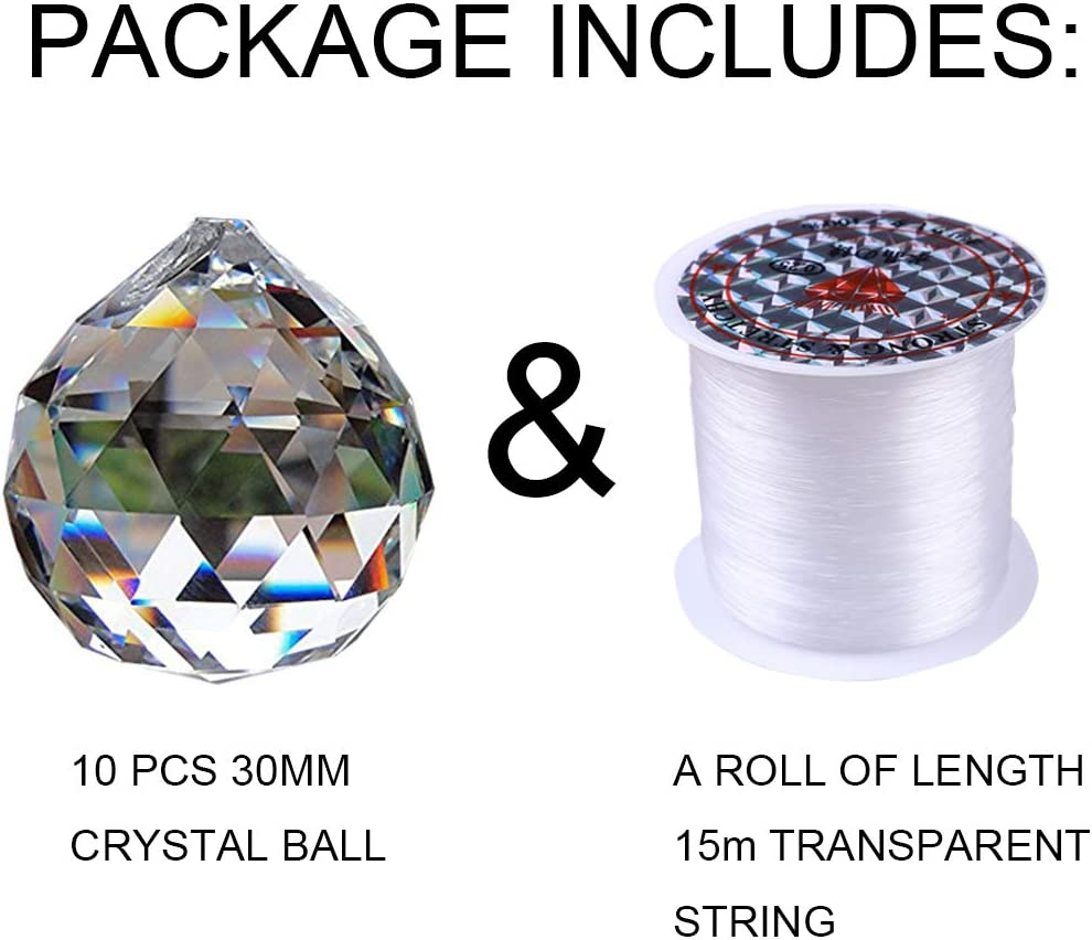 Hanging Faceted Pendant Suncatcher for Ceiling Chandelier Office Decorations Nuptio 20mm Clear Crystals Ball Prism 60 Pcs Wedding Home Feng Shui