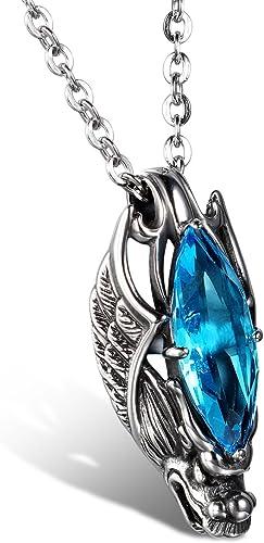 JewelryWe Schmuck Edelstahl Kette, Gotik Herrschsüchtigem Drachen Kopf Anhänger mit RotBlau Glas, Halskette Partnerkette für Damen und Herren