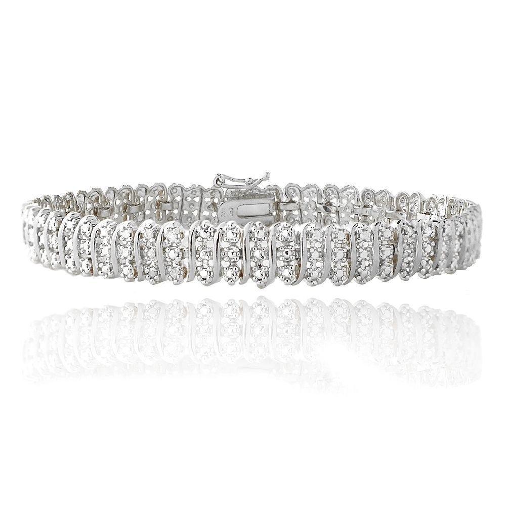 Jawa Fashion 14K White Gold Finish 2.00 CT Women's Diamond Tennis Bracelet, 5-10 Inches (7.5 Inches)