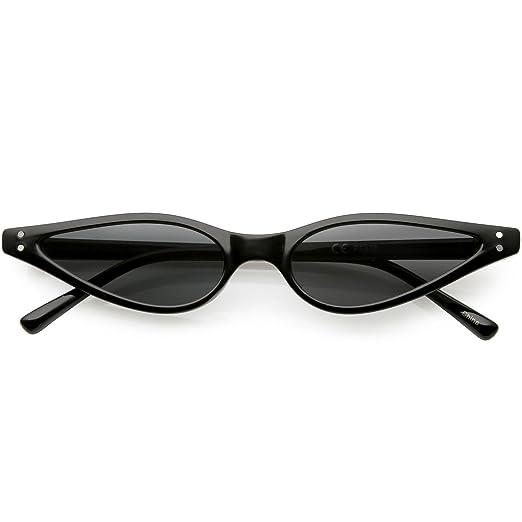 a5bbf88bbaa sunglassLA - Extreme Thin Cat Eye Sunglasses Neutral Colored Flat Lens 53mm  (Black Smoke