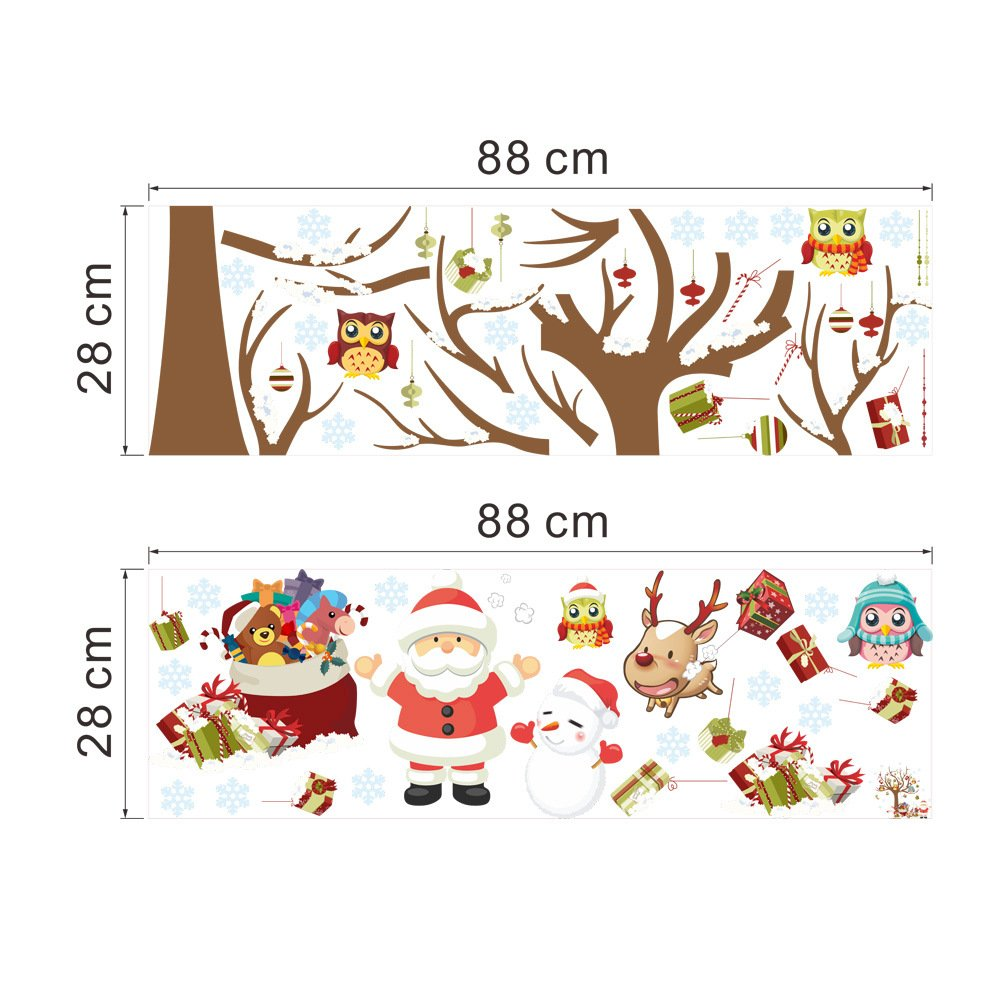 MLM Merry Christmas Santa Claus Owls Christmas Tree Gifts Wall Decals Shop Window Removable Wall Stickers Murals Removable DIY Home Decorations Art Décor MLM-ZY1222