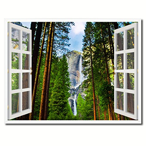 Waterfalls Yosemite National Park California Picture French Window Art Framed Print on Canvas Office Wall Home Decor Collection Gift Ideas, 13