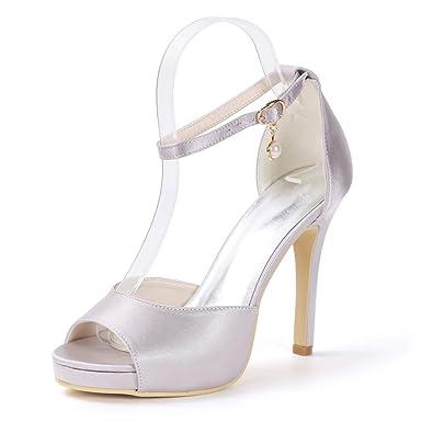 c9d5fdef1bf Elobaby Women Wedding Shoes Buckles Satin Peep Toe Chunky Pumps Super  qulity High Heels(11CM Heels)  Amazon.co.uk  Shoes   Bags