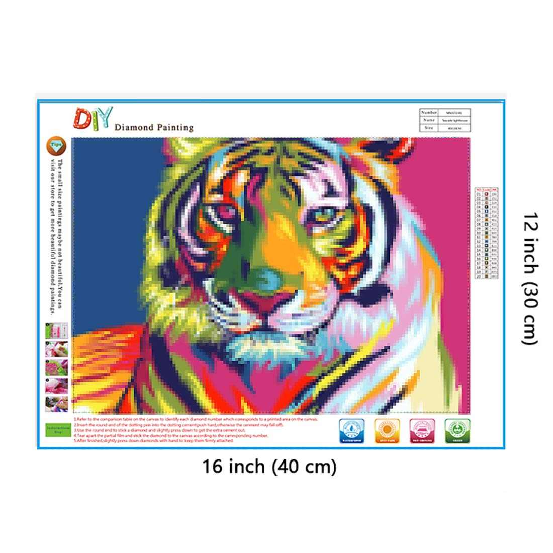 Yomiie 5D Diamond Painting Tiger Animal Full Drill by Number Kits for  Adults Kids, DIY Rhinestone Pasted Paint Set for Arts Craft Decoration