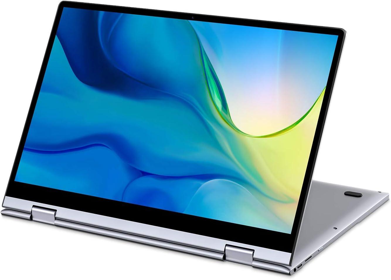 "BMAX 13.3"" Convertible 2 in 1 FHD Touchscreen Laptop, 8GB DDR4, 256GB M.2 SSD, Intel Quad-Core Celeron N4120, 2 Type-C Ports, LED Backlit Keyboard, AC WiFi + BT 5.0, Windows 10, Webcam, All-Metal Body"