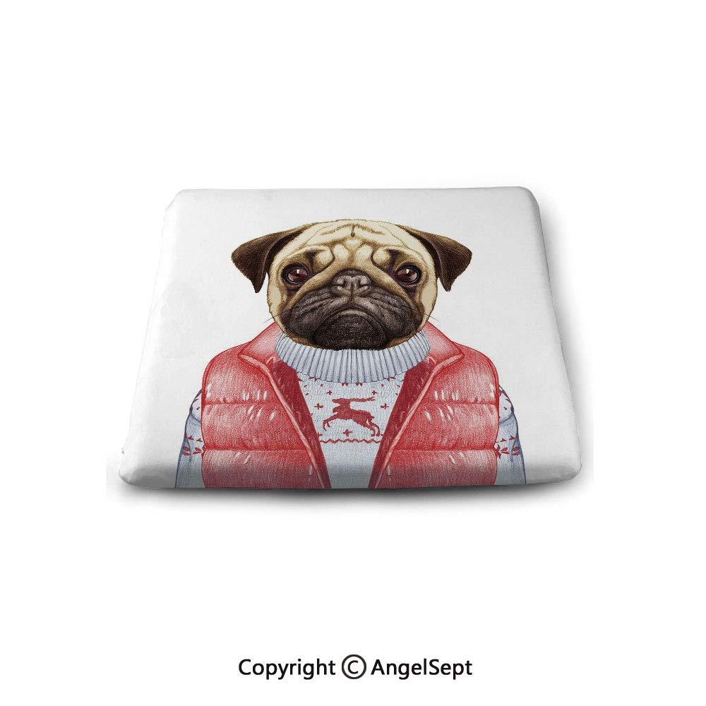 oobon Square Chair Seat Cushion for Kitchen Dining Chairs,Pug,Red Vest and Christmas Sweater on a Adorable Dog Hand Drawn Animal Fun Image,Pale Brown Red White,Memory Butt Pad Non Slip