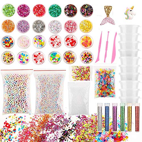 ANPHNIE Slime Kit Slime Making Kit DIY Decorating Supplies, Make Your Own Slime Set for Kids and Adults, Colorful Glitter, Foam Balls, Fishbowl Beads, Fruit Slices, Containers and Mixing Tools