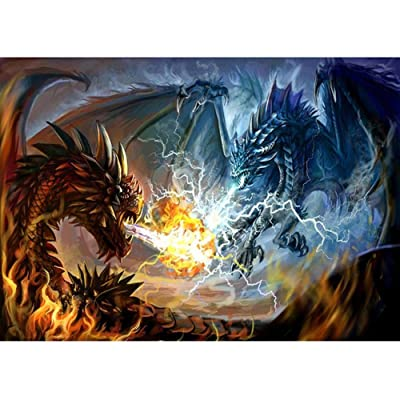 Puzzle 1000 Piece for Adult Fire Dragon and Electric Dragon Fight Decorative Paintings: Toys & Games