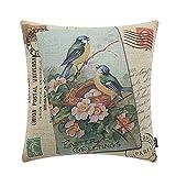 TRENDIN 18'' X 18'' Retro Happy Easter Green Birds with Flowers Linen Cushion Cover Pillow Case Festival Décor(PL105)