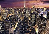 JP London MDXL5031PS Peel and Stick New York City Night Skyline Lights Removable Full Wall Mural, 8.5' x 12'