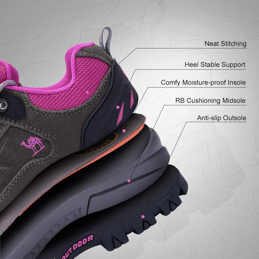 Zapatos de Excursionismo  para Actividades al Aire Libre CAMEL CROWN Zapatos de Senderismo para Mujer Zapatillas de Escalada Calzado de Ante para Alpinismo Excursionismo