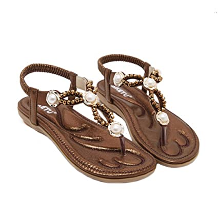 8ee6b2897e2 Amazon.com  Hemlock Women Size 4.5-10 Flat Sandals Bohemia Pearl Sandal  Shoes (US 9