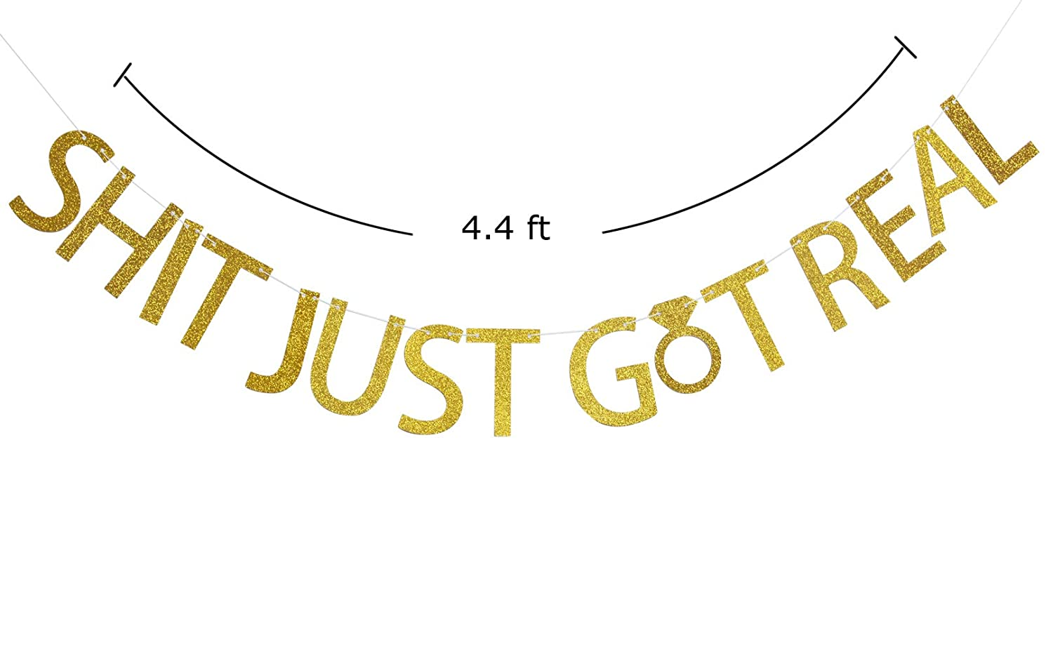 Bachelorette,Pregnancy Announcement,Bar Sign Engagement Firefairy/™ Shit Just Got Real Gold Glitter Bunting Banner for Funny Wedding