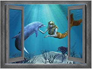 Wall26 - Open Window Creative Wall Decor - Beautiful Drawing of a Mermaid and Dolphin Interaction - Wall Mural, Removable Sticker, Home Decor - 36x48 inches