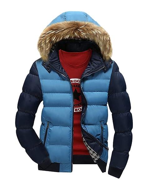 LaoZan Uomo Cappotto invernale con Cappuccio di pelliccia ecologica Giacca  con cerniera 3XL blu 4cee7c45f04