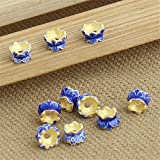 Luoyi 10pc Golden Plated Sterling Silver Enamel Bead Caps, Lotus Cloisonne Beads, Double Sided Bead Caps, 4*6mm, Hole: 1mm (T021L)