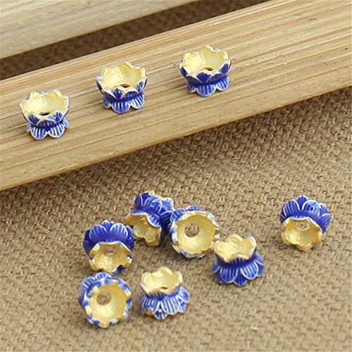 6mm Cloisonne Beads (Luoyi 10pc Golden Plated Sterling Silver Enamel Bead Caps, Lotus Cloisonne Beads, Double Sided Bead Caps, 4*6mm, Hole: 1mm (T021L))