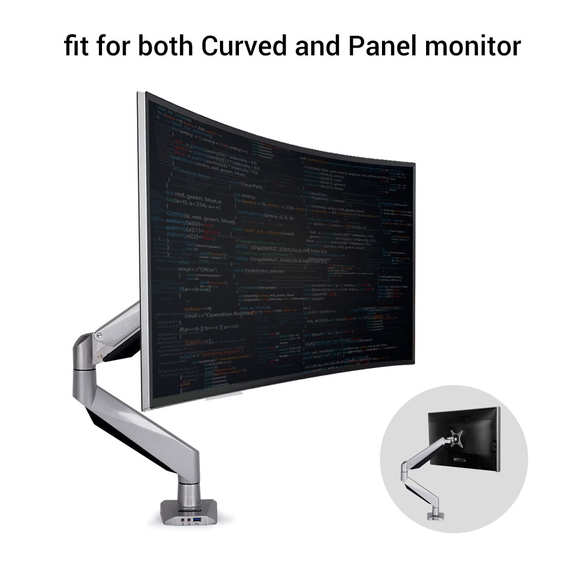 Loctek D7R Monitor Mount fits for both Curved and Panel 10- 34 inch Monitors Gas Spring Desk Top LCD Monitor Arm (D7R ,Weighting 8.8-22 lbs)