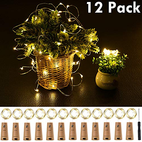 (Lvyinyin LED Wine Bottle Cork Lights 12 Packs Copper Wire String Lights, 6.6' Battery Operated Flexible Fairy Lights for DIY Christmas, Halloween Wedding and Party Decor, Warm White)