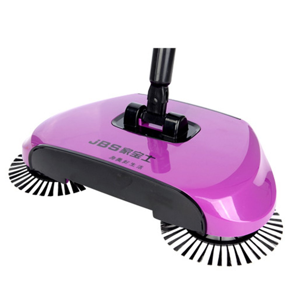 Household 360 Rotary Hand Push Sweeper Broom Without Electricity Home Use Manual Floor Dust Sweeper Purple