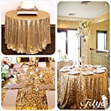 TRLYC Round Sparkly gold Sequin Table Cloth, 72-inch