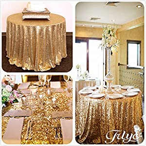 Amazon.com: TRLYC Round Sparkly gold Sequin Table Cloth ...