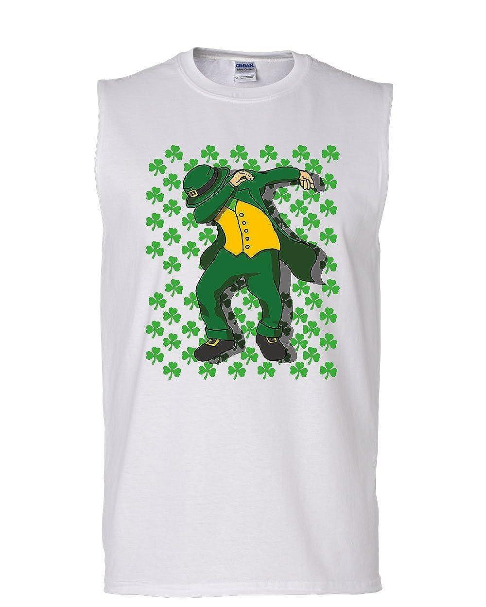 Patricks Day DAB Muscle Shirt Shamrock Dancing Leprechaun Beer Sleeveless Tee Hunt ST