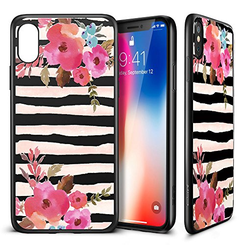 iPhone X Case, ESR Floral Flower Pattern Cover for Girls/Women [Anti Scratch PC Back + Soft Bumper] with Black Matte Silicone for 5.8