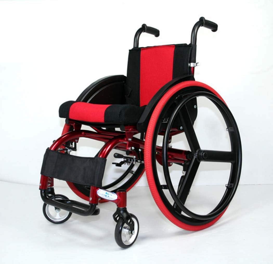 スポーツやレジャー車椅子、アルミ合金クイックリリース車椅子、後輪ショックアブソーバートロリー付きライトポータブル