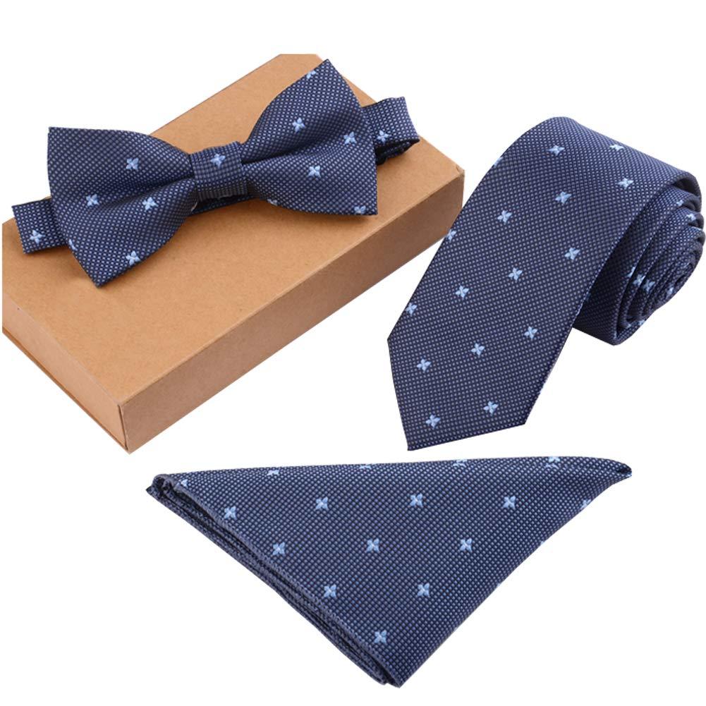 Lanburch Fashionable Premium Formal/Informal Ties Set, Necktie/Bow Tie/Pocket Square for Mens/Boys, Blue Floral