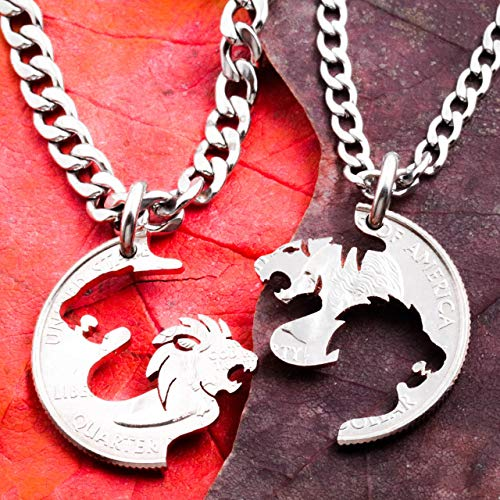 - Lion and Tiger Couples Necklaces, BFF or Couples, Tigress Jewelry, Best Friends Gift, Interlocking hand cut coin, By Namecoins