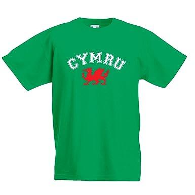 Kids Cymru T-shirt - Green Boys Girls Welsh Wales Rugby Football 6 Nations  Top 5487a738d