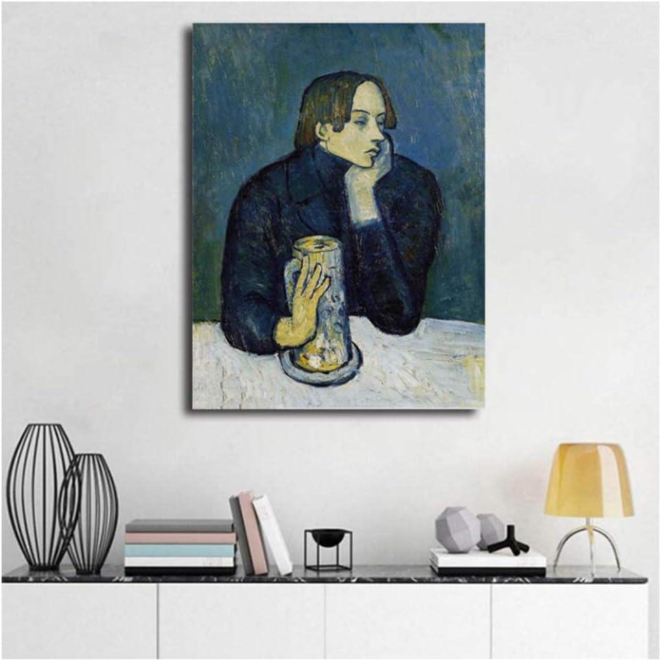 nr Pablo Picasso Retrato de Jaime Sabartes Lienzo Pintura Dormitorio decoración del hogar Moderno Arte de la Pared Pintura al óleo Cartel -50x70 cm sin Marco