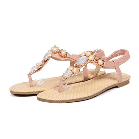 2b8e75917 Image Unavailable. Image not available for. Color  Flat Sandals Simple Slip  On Casual Ladies Shoes Elegant Bohemia Sweet Pink