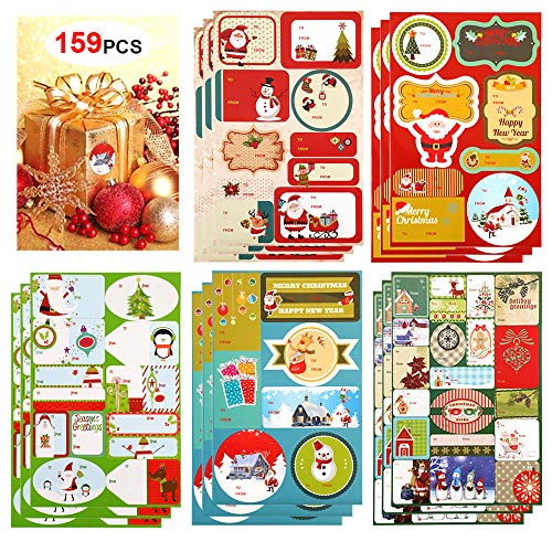 Christmas Gift Tag Stickers (159Count), Konsait Self Adhesive Xmas Presents Gift Labels Holiday Decorative Labels Decals for friends Gift Bags Cards Envelope Xmas Decoration Christmas Party Favor Supplies