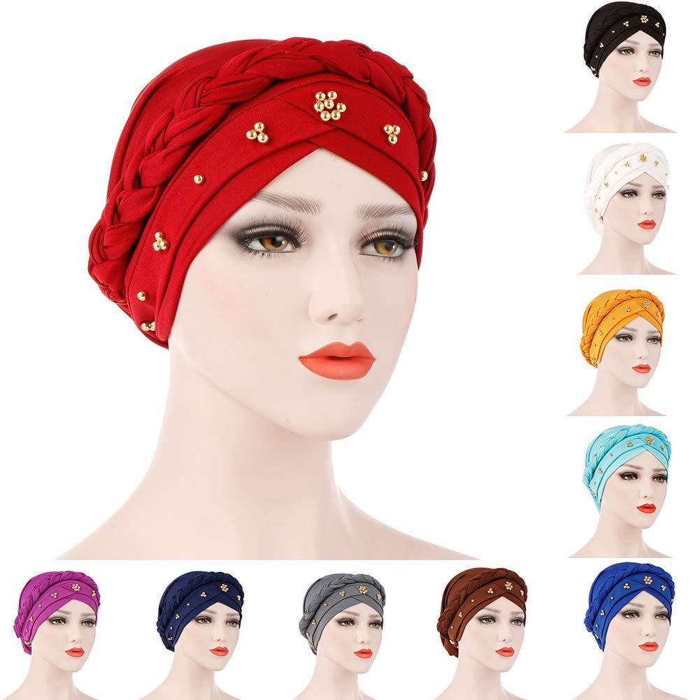 BrawljRORty Muslim Scarf Wraps - Solid Color Braid Beads Decor Women Muslim Hijab Turban Head Scarf Cap Hat by BrawljRORty (Image #2)