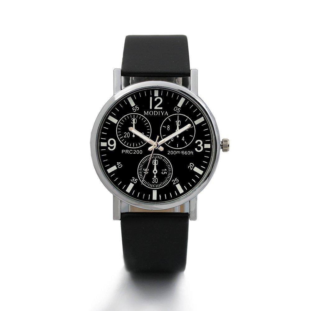 Ecurson Three Eye Watches Quartz Men's Watch Blue Glass Belt Watch Men (Black)