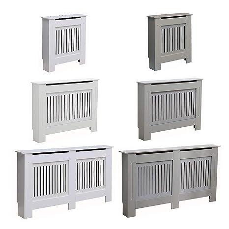 Small Grey Kensington Radiator Cover Modern MDF Wood White Grey Horizontal Slat Living Room Bedroom Hallway Cabinet