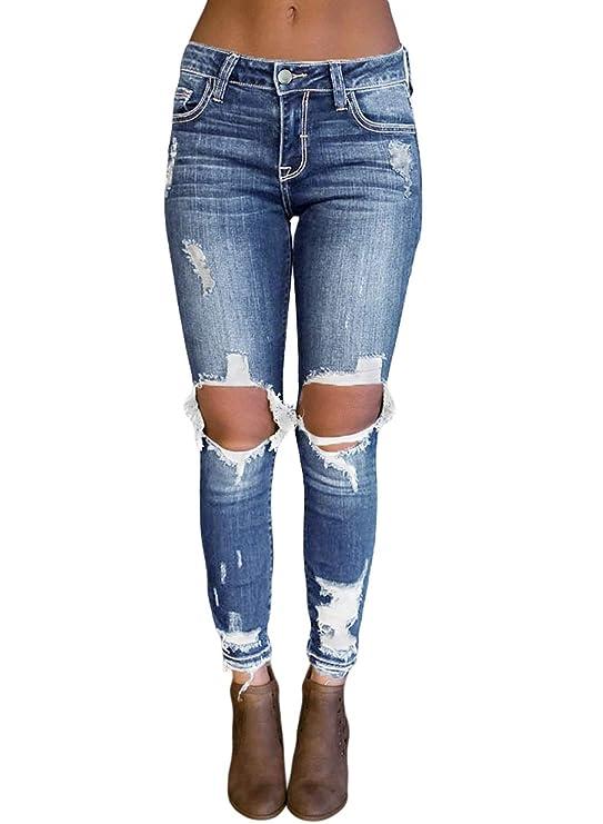 8b98949c92ee0 Blue Jeans rotos a la rodilla para dama