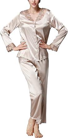 Dolamen Pijamas para Mujer, Mujer Satin Camisones Pijamas Raso, Bordado de Flores de Encaje Satén Suave y cálido Manga Larga y Pantalones Largos