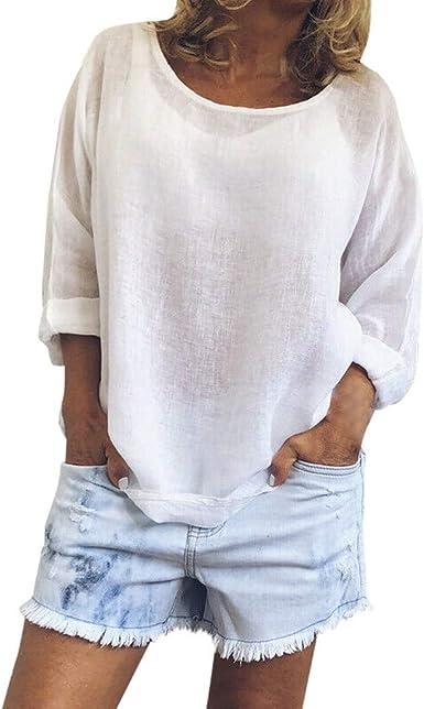MOTOCO Mujer Casual Color SóLido Plus Size Camisa O-Cuello Blusa de Lino de Manga Larga Top(XL, Blanco): Amazon.es: Ropa y accesorios