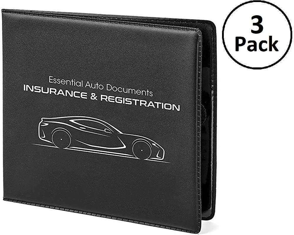 Car Insurance and Registration Card Holders - Premium Wallets for Essential Automobile Documents, Black, 3 Pack