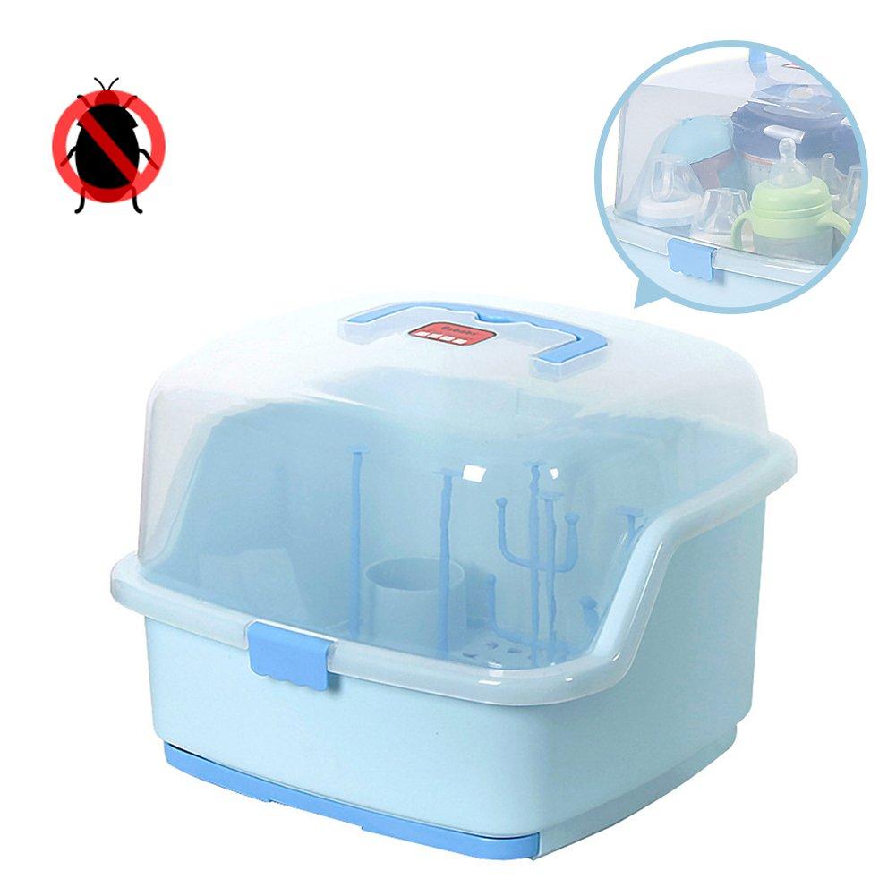 Baby Tragbare Flasche Trocknen Racks mit Anti-Staub H/ülle Gro/ße stillflasche Aufbewahrungsbox Baby Geschirr Organizer