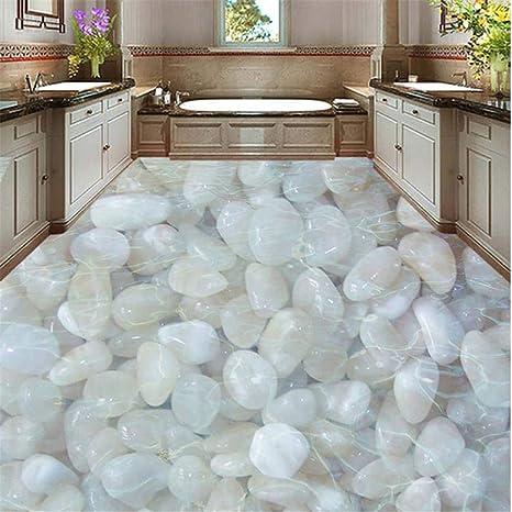 Mrlwy Papel pintado en 3D para el suelo Adoquinado blanco ...