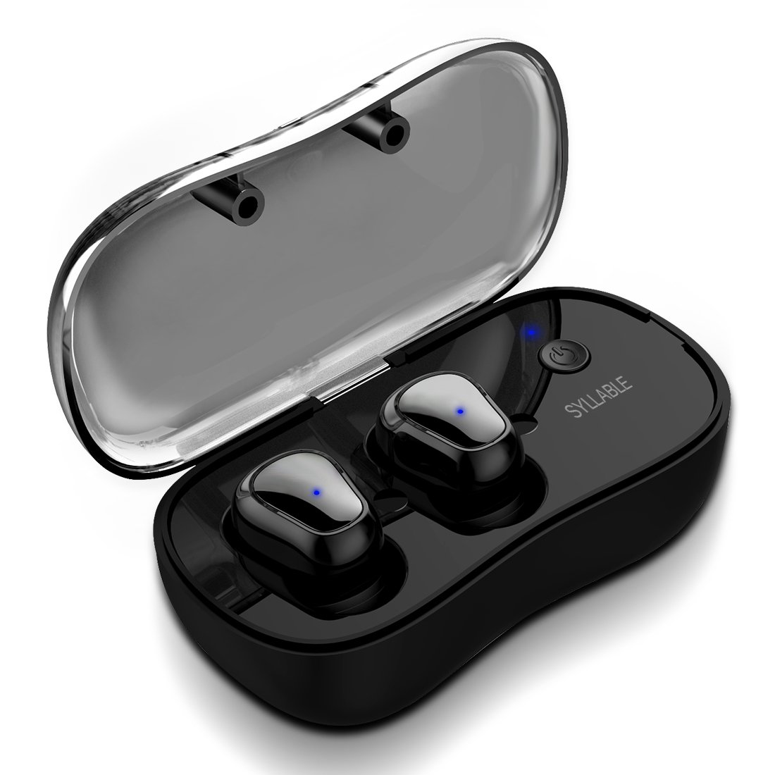 Syllable True Wireless Bluetooth Headphones, in-Ear Sport Running Earbuds with Microphone and Charging Box HiFi Sound Sweatproof for Android Apple iPhone (D900P) (Black)