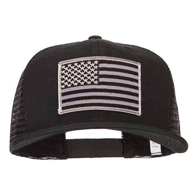 f5a93adaf1b e4Hats.com American Grey Flag Patched Big Size Flat Bill Trucker Cap -  Black OSFM