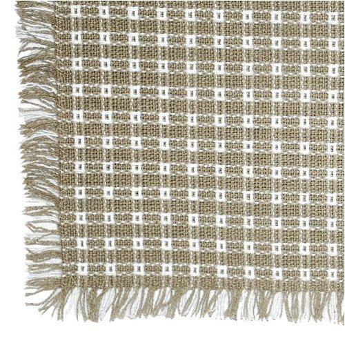 Homespun Linen - 62 x 62 (Square) Homespun Tablecloth, Hand Loomed, 100% Cotton, Stone/White