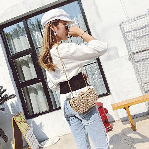 Women Pack Shoulder Chain Rhinestone Clutch Shiny Oval Set Evening Diagonal Bridal one Pink Bag 7qrz7ZP