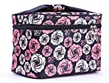 HOYOFO Women Portable Travel Cosmetic Bags with Brush Holder Make Up Bags,Flower