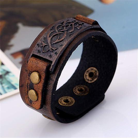 Brown Women MXYZB Genuine Leather Bracelet Adjustable Wide Belt Cuff Bangle Punk Rock Wrap Handmade Jewelry for Men